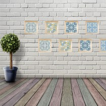 DIY珪藻土復古花磚-混搭鄉村1入組加贈木框 (多種花色可選)
