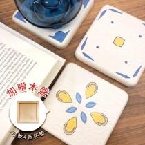 【MBM】仲夏魔力MBM花磚珪藻土杯墊組(一盒5入)