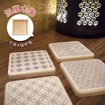 【MBM】極簡永恆MBM花磚珪藻土杯墊組(一盒5入)