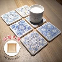 【MBM】混搭鄉村MBM花磚珪藻土杯墊組(一盒5入)